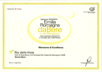 Excellence award for the wine Rio Delle Viole 2008