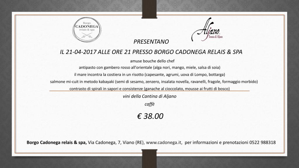 Cena 21 aprile Borgo Cadonega e Aljano