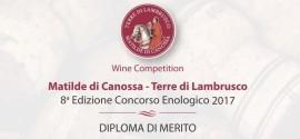 Diploma di Merito at Matilde di Canossa 2017 enological contest
