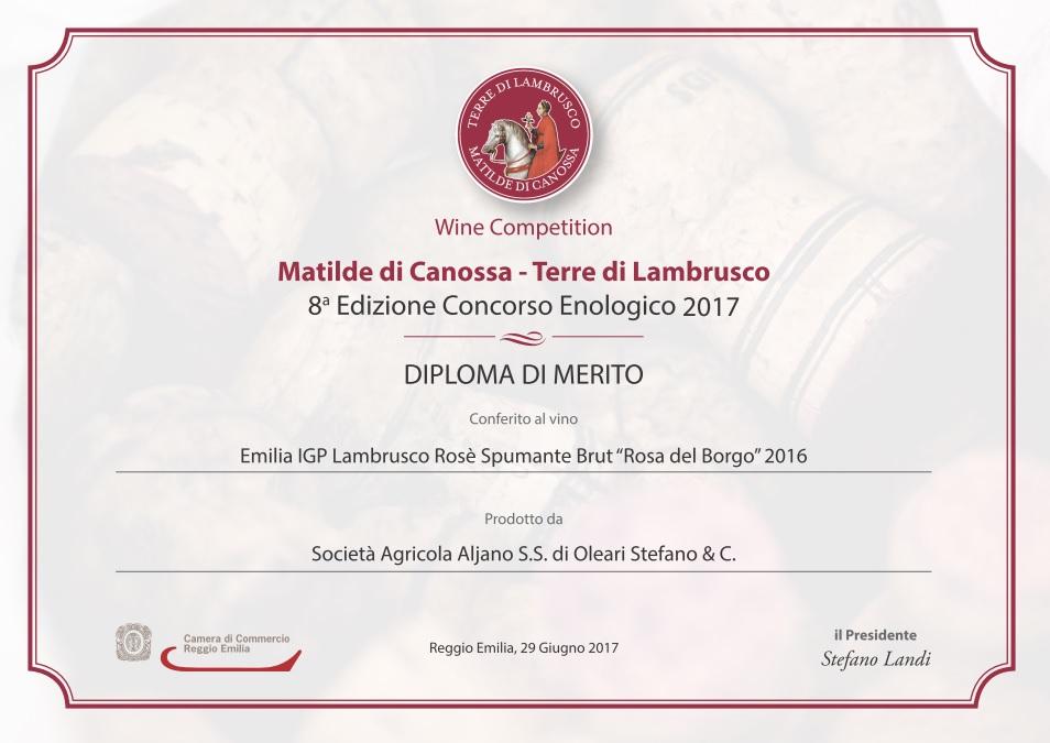 Diploma di Merito Rosa del borgo Aljano Matilde di Canossa Terre di Lambrusco