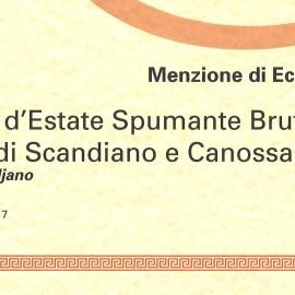 Menzione di Eccellenza per Brina d'Estate a Emilia Romagna da Bere e da Mangiare 2017/18